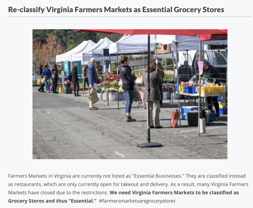 VABF Petition to Govenor Northam to reclassify farmer's markets as essential.